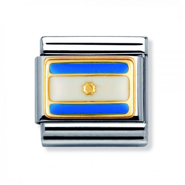 Nomination 030235/03 Charm Classic Gold Flagge Weiss Blau Emailliert Argentinien