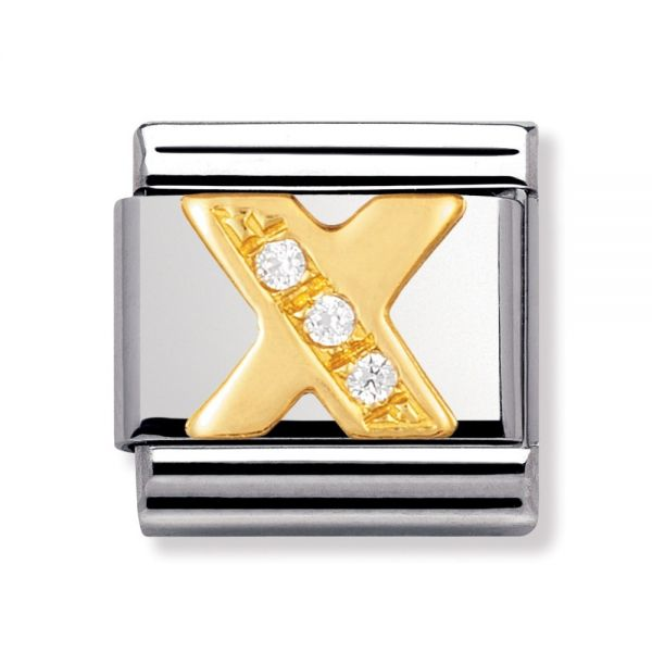 Nomination 030301/24 Charm Classic Buchstabe X Zirkonia Gold