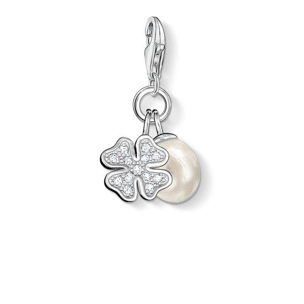 Thomas Sabo 0831-167-14 Charm-Anhänger Kleeblatt mit Perle Silber