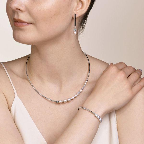Coeur de Lion 1102/30-1417 Armband Damen Asymmetrie Süßwasserperlen Weiß Silber