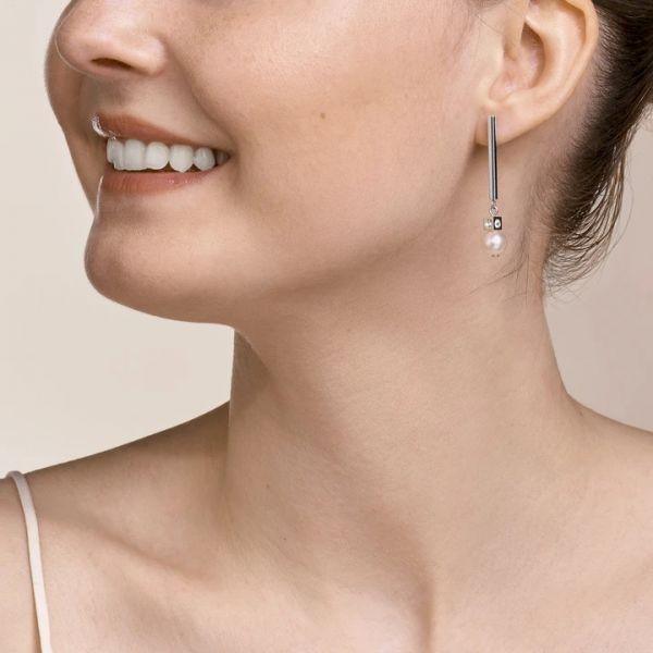 Coeur de Lion 1102/21-1417 Ohrringe Damen Asymmetrie Süßwasserperlen Weiß Silber