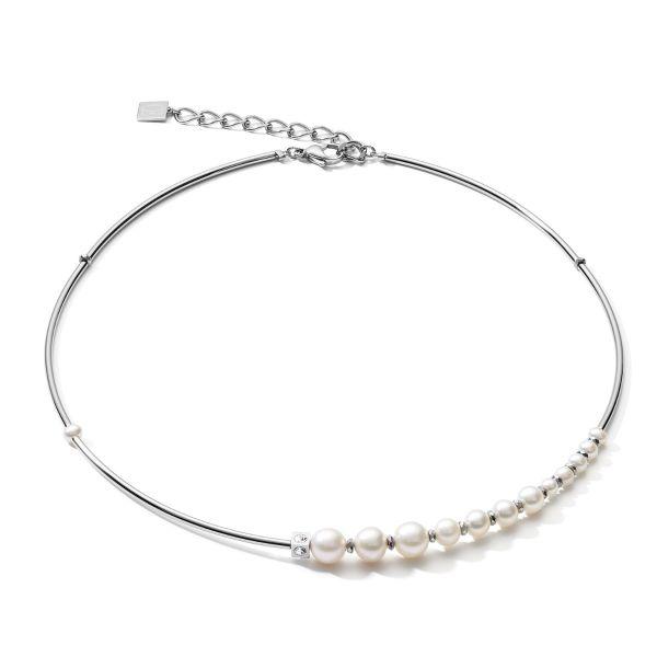 Coeur de Lion 1102/10-1417 Halskette Damen Asymmetrie Süßwasserperlen Weiß Silber