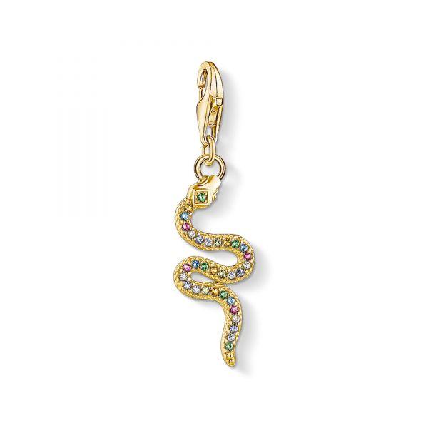 Thomas Sabo 1813-488-7 Charm-Anhänger Farbige Schlange Silber Vergoldet