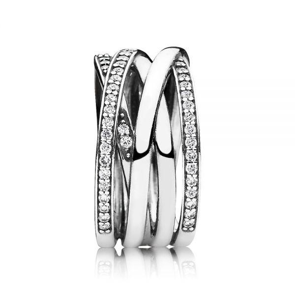 Pandora 190919CZ Ring Funkelnde Bänder Silber
