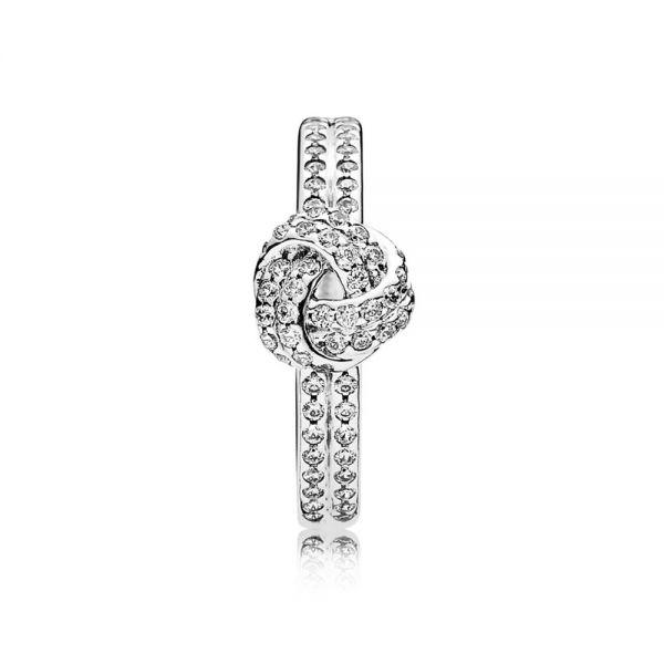 Pandora 190997CZ Ring Funkelnder Liebesknoten Sterling-Silber