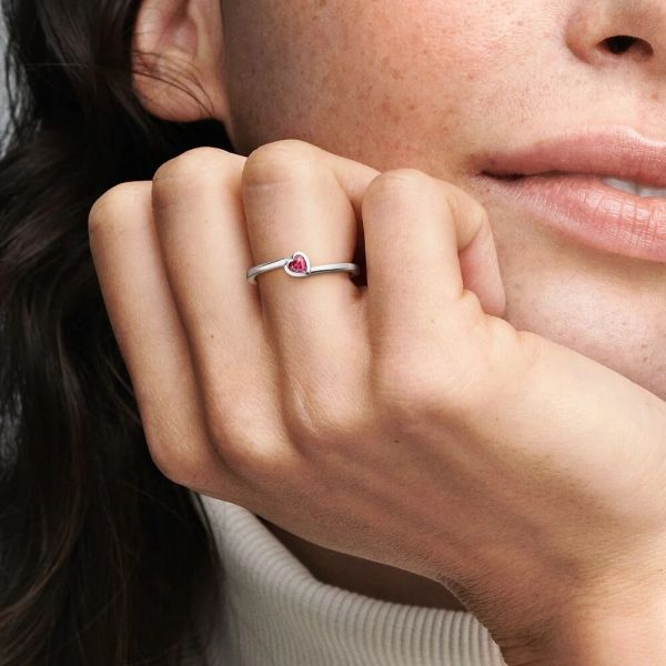 Pandora 199267C01 Solitär-Ring Damen Rotes Geneigtes Herz Silber