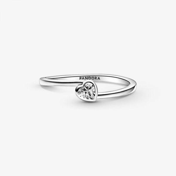 Pandora 199267C02 Solitär-Ring Damen Klares Geneigtes Herz Silber