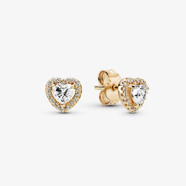 Pandora 259137C01 Ohrstecker Ohrringe Damen Erhabenes Herz 14k Gelbgold