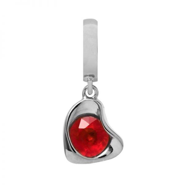 Endless 31702 Charm-Anhänger Garnet Heart Drop Silber