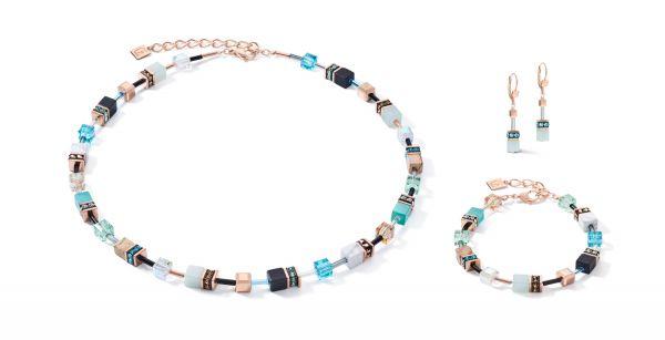 Coeur de Lion 4905/30-2010 Armband Damen GeoCUBE® Swarovski® Kristalle Edelsteine Aqua Edelstahl Roségold