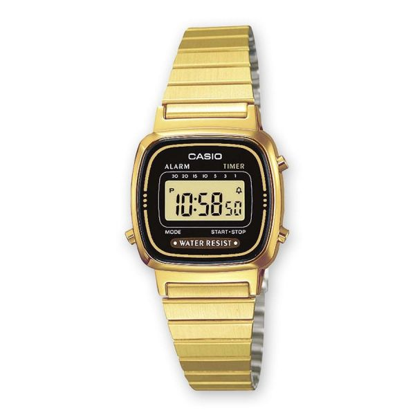 Casio LA670WEGA-1EF Damen-Uhr Vintage Mini Quarz Edelstahl-Armband