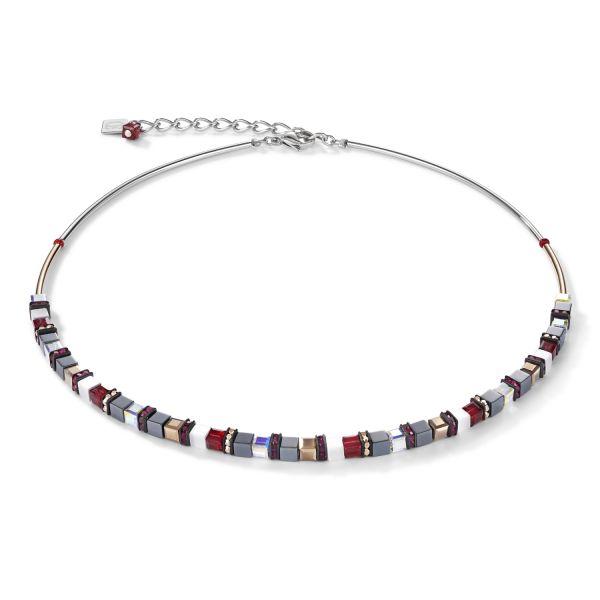 Coeur de Lion 4977/10-0300 Halskette Damen GeoCUBE® Small Hämatit & Swarovski® Kristalle Rot Edelstahl