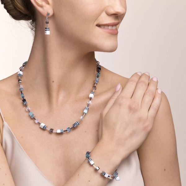 Coeur de Lion 5011/10-2014 Halskette Damen GeoCUBE® Medium Aqua Weiß Edelstahl 50 cm