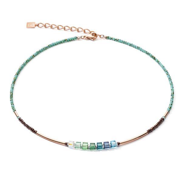 Coeur de Lion 5027/10-0537 Halskette Swarovski® GeoCUBE® Shades of Green Petrol Roségold