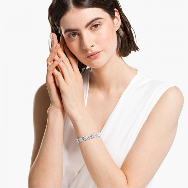 Swarovski 5562088 Armband Damen Tennis Deluxe Mixed Weiss Silber-Ton