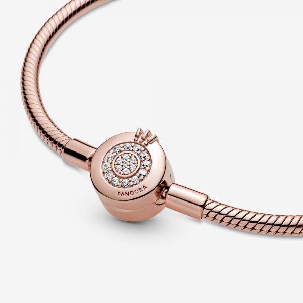Pandora Rose 589046C01 Schlangen-Gliederarmband Funkelndes Crown O
