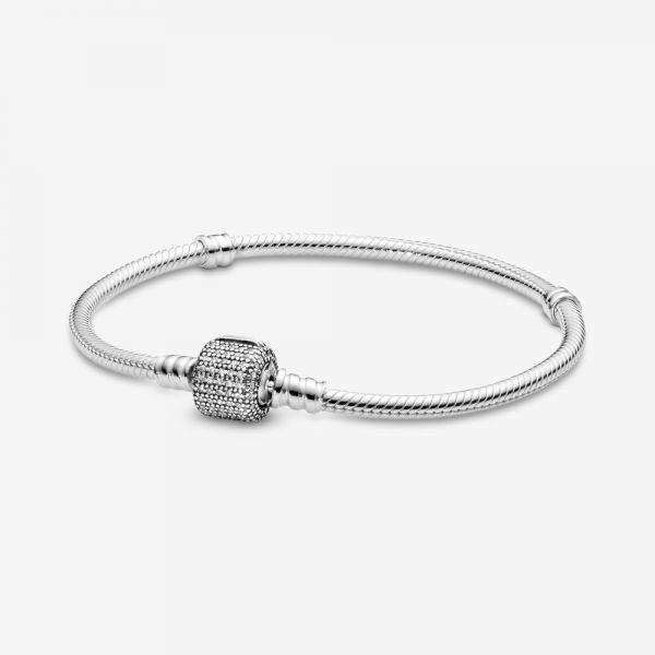 Pandora 590723CZ Schlangen-Gliederarmband mit Pavé-Verschluss Silber