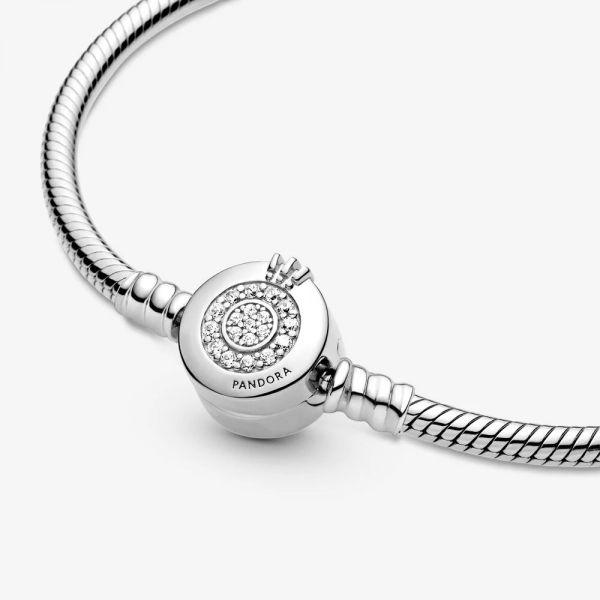 Pandora 599046C01 Schlangen-Gliederarmband Funkelndes Crown O