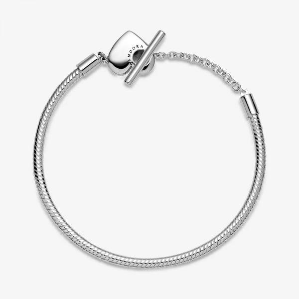 Pandora 599285C00 Schlangen-Gliederarmband Moments Herz T-Verschluss