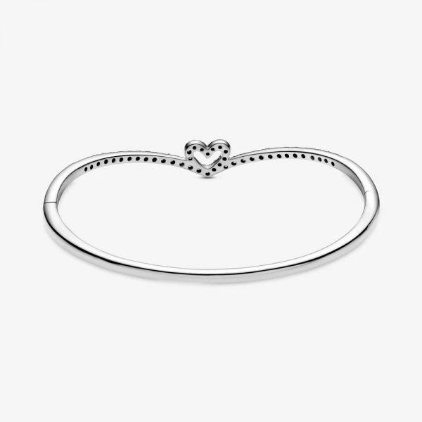 Pandora 599297C01 Armreif Damen Funkelnder Wishbone Herz Silber