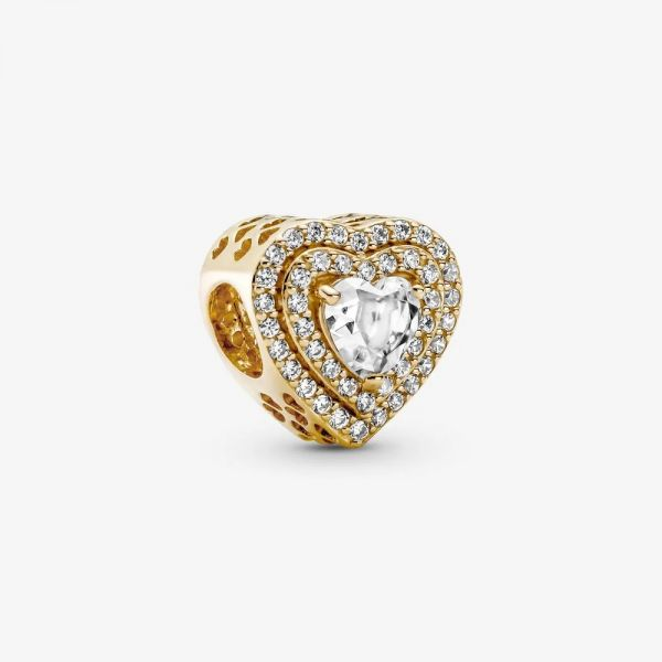 Pandora 759517C01 Charm Damen Funkelnde Mehrstufige Herzen 14k Gelbgold