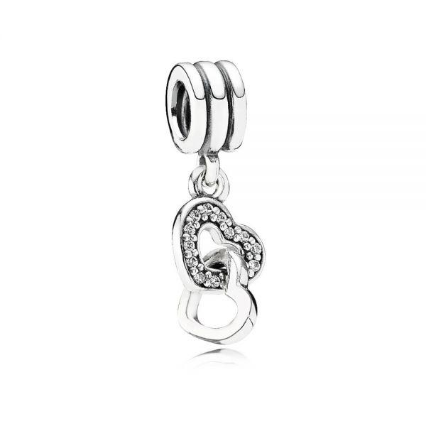 Pandora 791242CZ Charm-Anhänger Verschlungene Herzen Silber