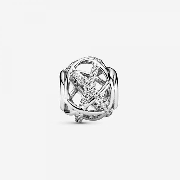 Pandora 791388CZ Charm Funkelnde Linien Sterling Silber