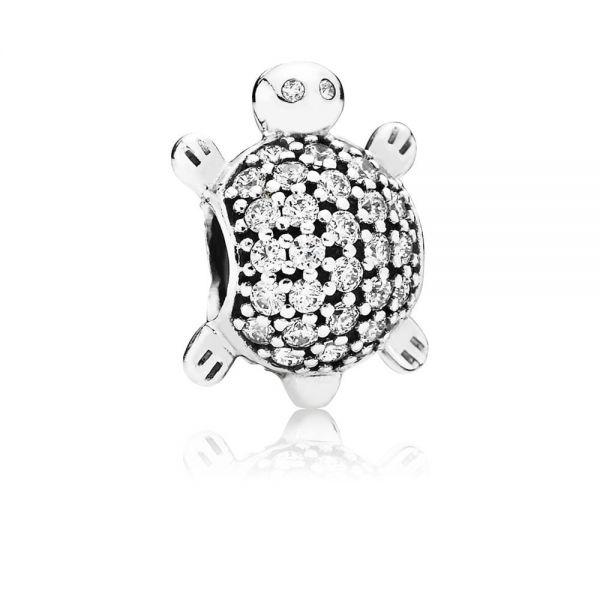 Pandora 791538CZ Charm Meeres-Schildkröte Silber Pavé