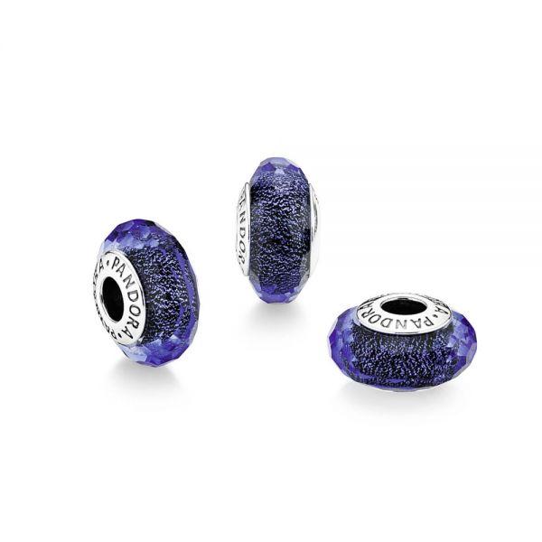 Pandora 791646 Charm Facettiertes Blaues Murano-Glas Silber