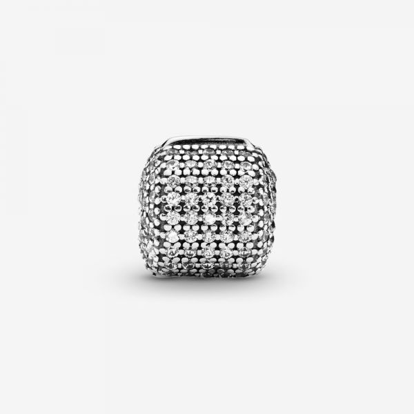 Pandora 791873CZ Charm Clip Pavé Zylinder Sterling Silber