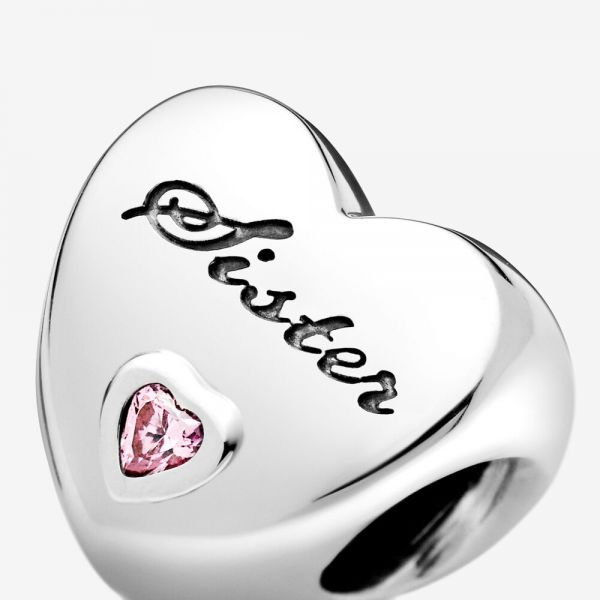 Pandora 791946PCZ Charm Sister Schwesternliebe Sterling-Silber