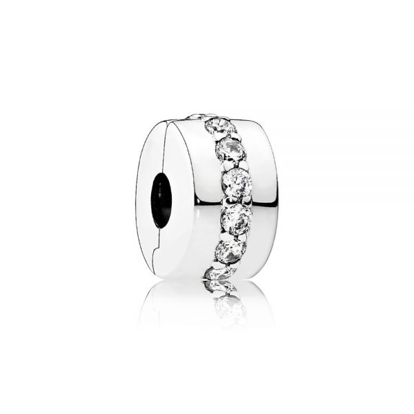 Pandora 791972CZ Charm Clip Glänzendes Band Sterling Silber