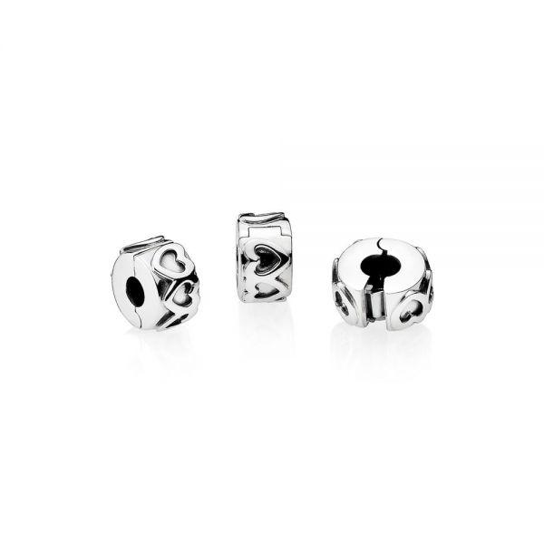 Pandora 791978 Charm Clip Gereihte Herzen Sterling Silber