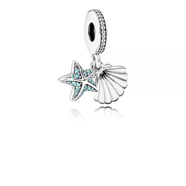 Pandora 792076CZF Charm-Anhänger Tropischer Seestern & Muschel Silber