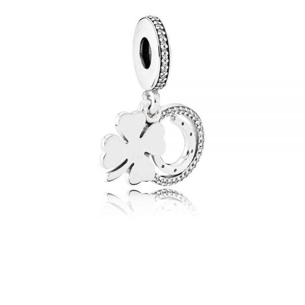 Pandora 792089CZ Charm-Anhänger Kleeblatt Sterling Silber