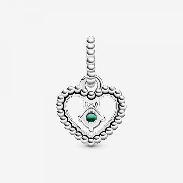 Pandora 798854C05 Charm-Anhänger Damen Dschungelgrün Mai Metallperlen Herz Silber
