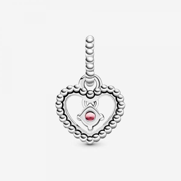 Pandora 798854C09 Charm-Anhänger Damen Pinkfarbig Oktober Metallperlen Herz Silber