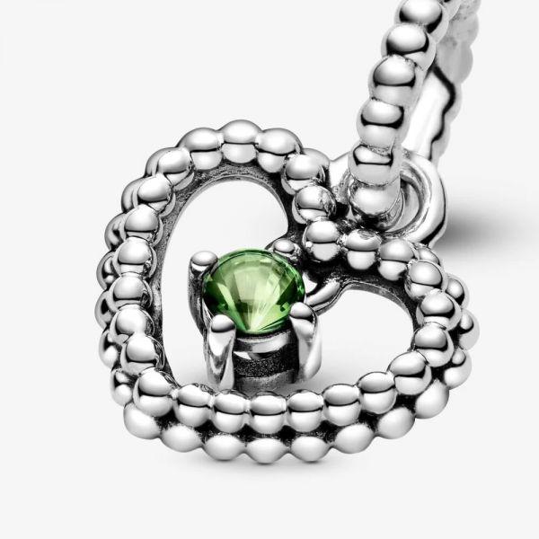 Pandora 798854C10 Charm-Anhänger Damen Frühlingsgrün August Metallperlen Herz Silber