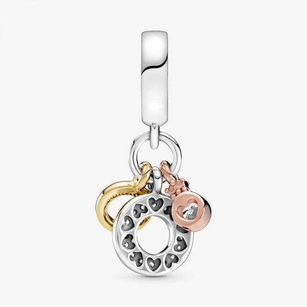 Pandora Shine Rose 799044C01 Charm-Anhänger Dreifacher Monogramm & Logo
