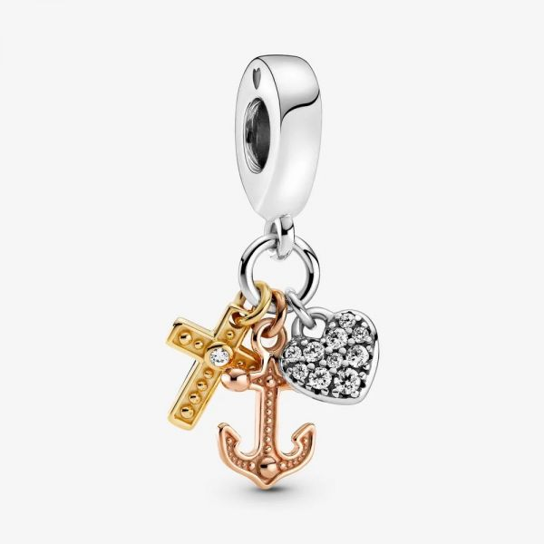 Pandora Shine Rose 799354C01 Charm-Anhänger Dreifarbig Kreuz Herz Anker Silber