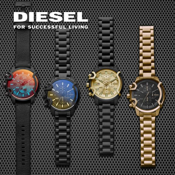 Diesel DZ7363 Herren-Uhr Little Daddy Analog Quarz mit Leder-Armband