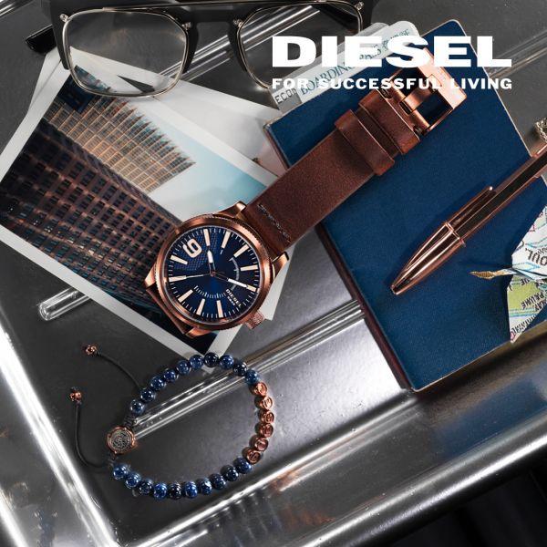 Diesel DZ1399 Herrenuhr Master Chief Analog Quarz mit Leder-Band Ø 45 mm