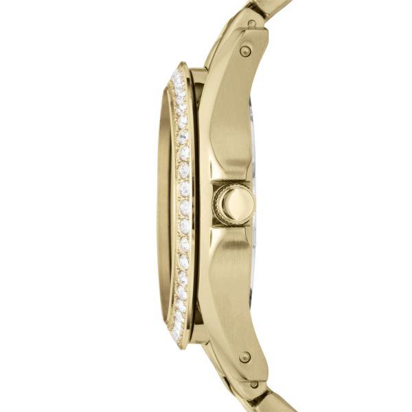Fossil ES3203 Damen-Uhr Riley Analog Quarz mit Edelstahl-Band Gold Ø 38 mm