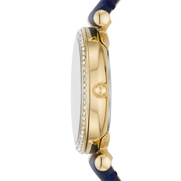 Fossil ES5017 Damen-Uhr Carlie Mini Analog Quarz Blauer Leder-Band Ø 28 mm