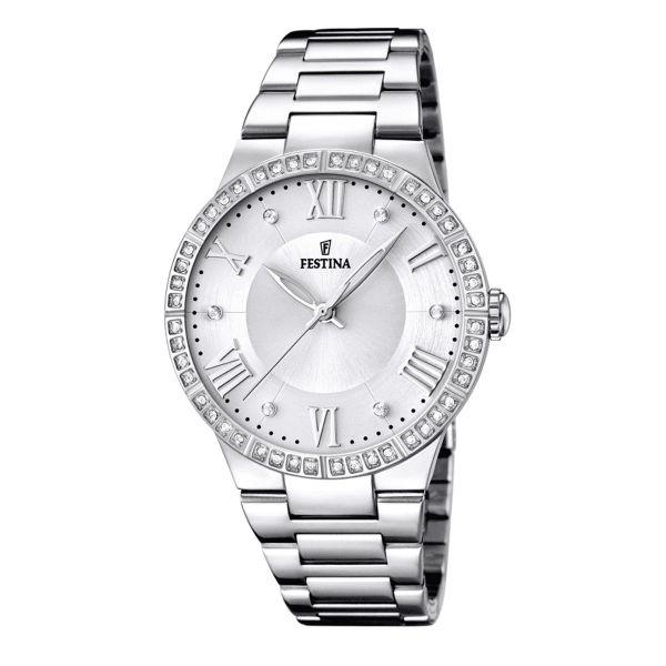 Festina F16719/1 Damen-Uhr Boyfriend Analog Quarz Edelstahl-Armband Ø 36,5 mm