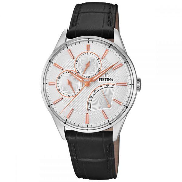 Festina F16974/1 Herren-Uhr Multifunktion Quarz Leder-Band Ø 41 mm