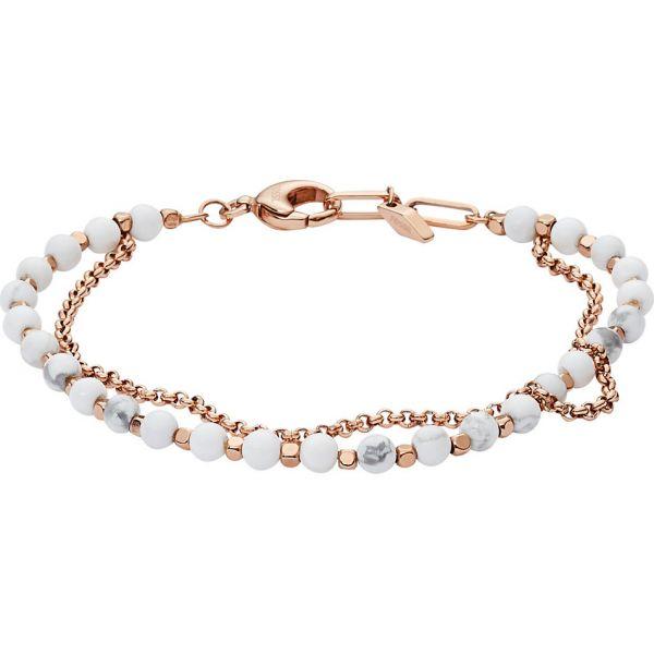 Fossil JA6774791 Armband Damen Multi Beads Howlite Weiß Rosé