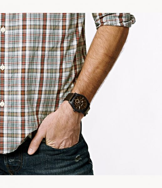 Fossil FS4656 Herren-Uhr Machine Chronograph Quarz mit Leder-Band Ø 42 mm