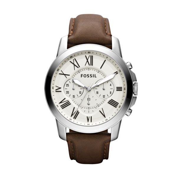 Fossil FS4735 Herren-Uhr Grant Chronograph Quarz mit Leder-Armband