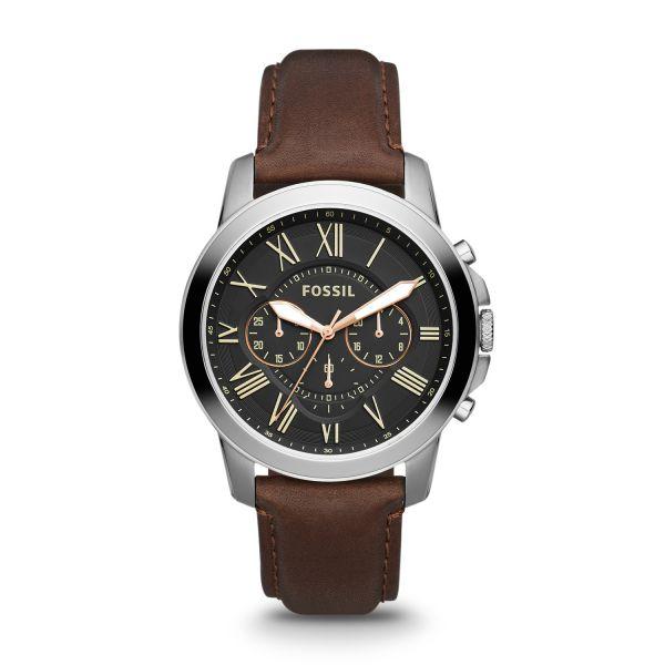 Fossil FS4813 Herren-Uhr Grant Chronograph Quarz mit Leder-Band